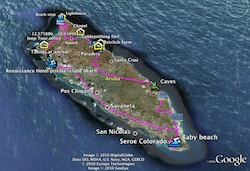 Google Earth view of Jeep Tour GPS track in Aruba