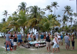 Cruiser gathering at BBQ Island, San Blas, Panama