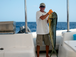 Frank holding latest Mahi Mahi catch