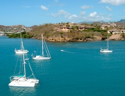 Shot from Tahina's mast of Prickly Bay, Grenada anchorage