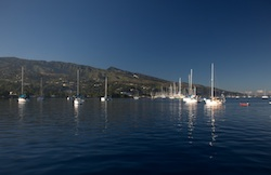 View from Tahina of our anchorage looking towards Marina Taina in Tahiti