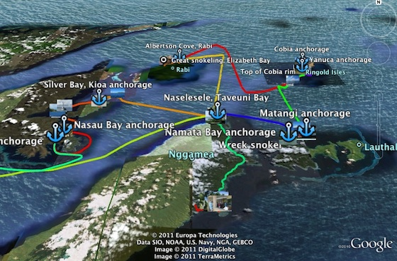 Fiji Tracks in Google Earth